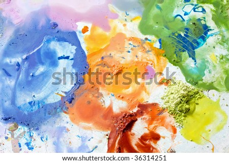 Acrylic dye paint color mix for artist