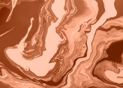 Acrylic Fluid Art. Earthy terracotta waves flow into each other. Abstract marble background or texture.