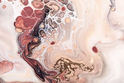 Acrylic Fluid Art. Waves and bubbles in natural colors with golden inclusions. Abstract marble background or texture.