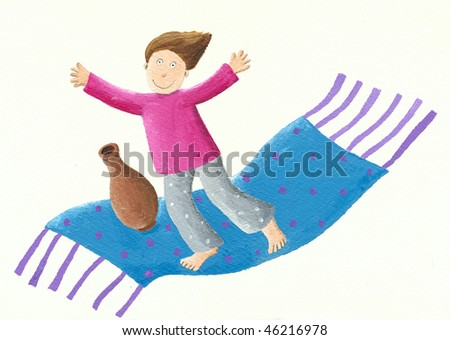 Acrylic illustration of a Boy on a flying carpet
