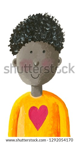 Acrylic illustration of a cute african american little boy in a shirt with a heart
