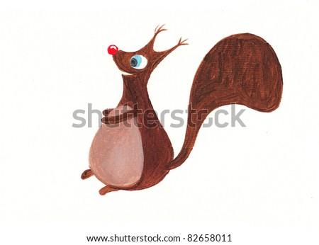 Acrylic illustration of a cute squirrel