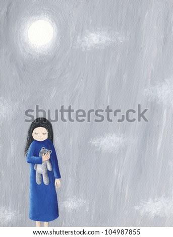 Acrylic illustration of abandoned little girl holding her teddy