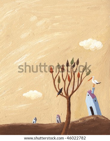 Acrylic illustration of Autumn landscape with tree, houses and stork