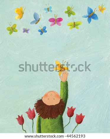 Acrylic illustration of Boy and colorful butterflies