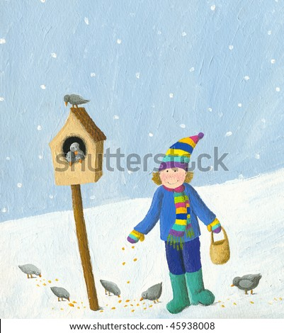 Acrylic illustration of boy feeding birds in the winter