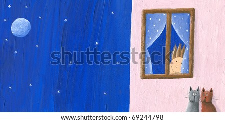Acrylic illustration of boy looks into the night
