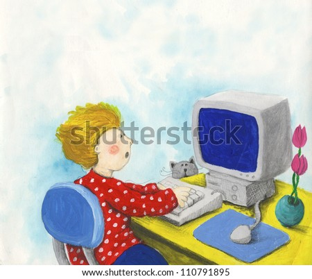 Acrylic illustration of boy with computer