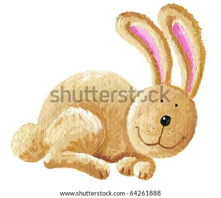 Acrylic illustration of cute rabbit