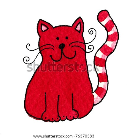 Acrylic illustration of cute red cat