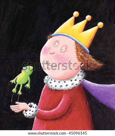 Acrylic illustration of Fairytale King holding a frog
