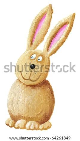 Acrylic illustration of funny rabbit