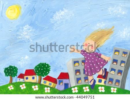 Acrylic Illustration of Girl jumping full of joy