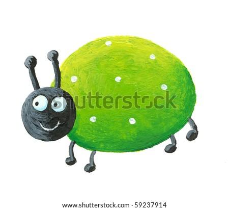 Acrylic illustration of green bug