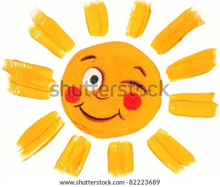 Acrylic illustration of happy sun