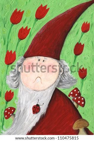 Acrylic illustration of puzzled garden dwarf