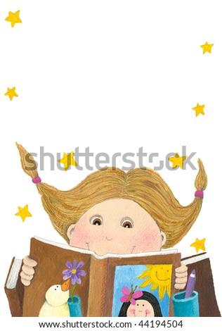 Acrylic illustration of Surprised girl reading book - stock photo