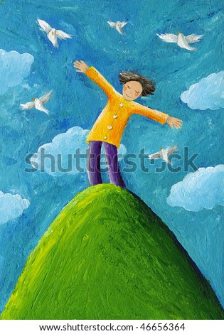 Acrylic illustration of the boy on the hill with his arms wide open