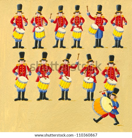 Acrylic illustration of the 12 days of christmas - twelfth day - twelve drummers drumming