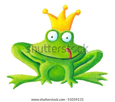 Acrylic illustration of the frog prince - stock photo
