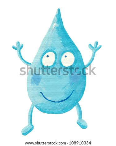 Acrylic illustration of the funny Cartoon Water Drop