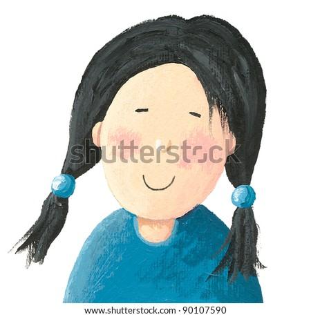 Acrylic illustration of the Little Asian Girl