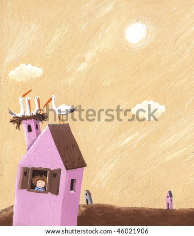 Acrylic illustration of the pink house with storks nest on the roof