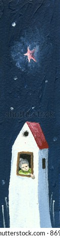 Acrylic illustration of the sad grandmother in the lonely house - stock photo