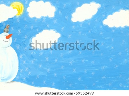 Acrylic illustration of winter scene with happy snowman