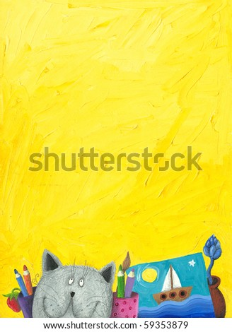 Acrylic illustration of yellow background with funny cat