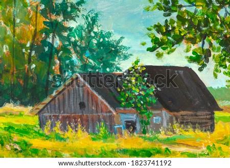 Acrylic oil painting old barn farm house, beautiful spring summer landscape - rural village landscape illustration