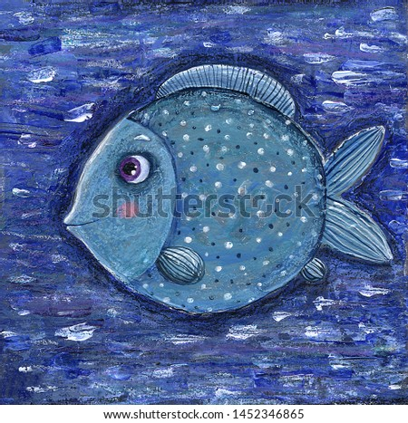 acrylic painting Blue fish in the blue sea