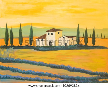 Acrylic Painting of a Tuscan Landscape made by a private Painter
