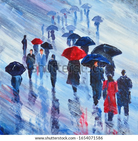 Acrylic Painting of People walking in the rain with umbrellas