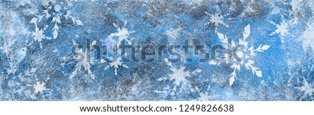 Acrylic painting on canvas snow flakes Winter background frozen