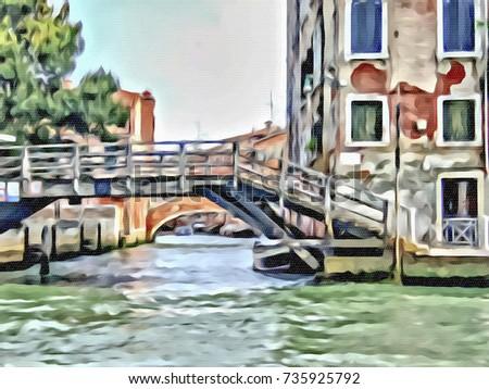 Acrylic Painting; The Landscape View of Canal and City in Venice, Italy