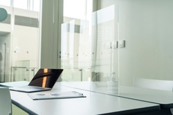 Acrylic partition in the office.