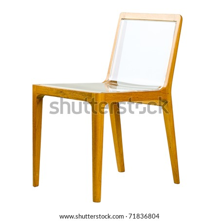 Acrylic seat and wooden can make a modern design chair, the image isolated on white