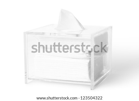 acrylic tissue box on white background with clipping paths.