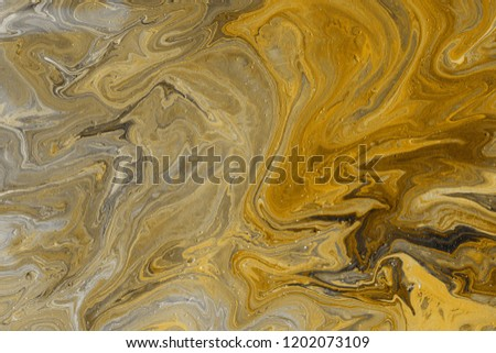Acrylic yellow abstract background. Trendy look. Imitation of natural marble stone.   #1202073109