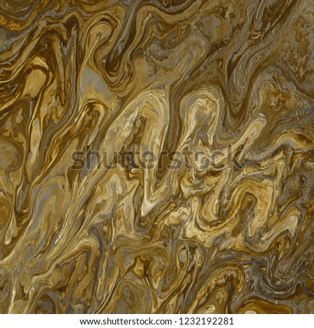 Acrylic yellow abstract background with waves and strokes. Trendy look. Chaotic abstract organic design.   #1232192281