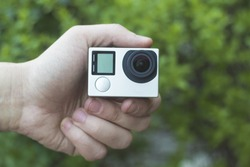 Action camera in hand