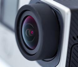 Action camera lens. Close up photo