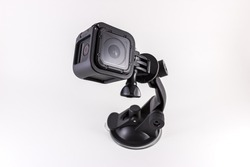 Action Camera mounted on accessory isolated on white background