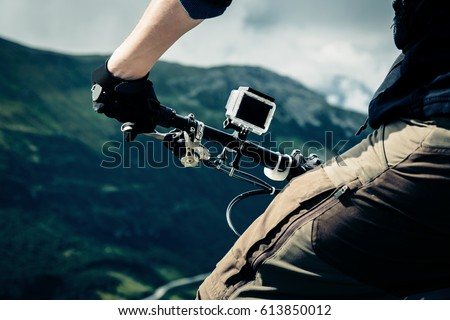 Action Camera Mounted On Mountain Bike #613850012