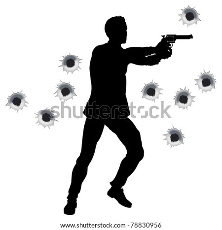 Action hero standing and shooting in film styleshoot out action sequence. With bullet holes.