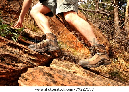 Action hiking shot - stock photo