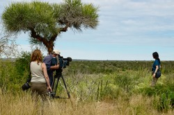 Action nature and wildlife documentary filming, cameraman, photographer and actress in Madagascar