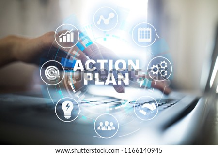 Action plan text on virtual screen. Business and technology concept. #1166140945