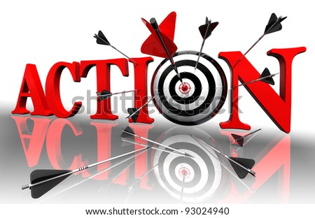 action red word and conceptual target with arrow on white background